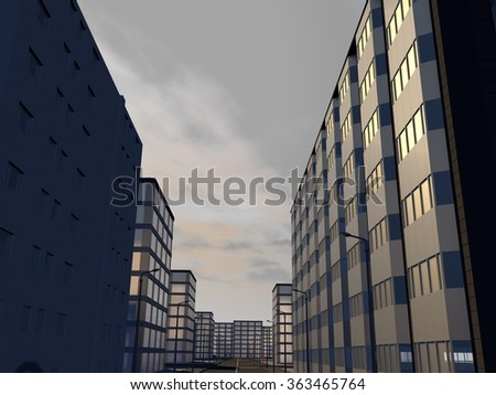 Street with modern administrative buildings in a city center at sunset with a cloudy sky in background - stock photo