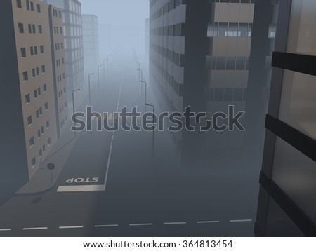 Street with modern administrative buildings in a city center in the mist