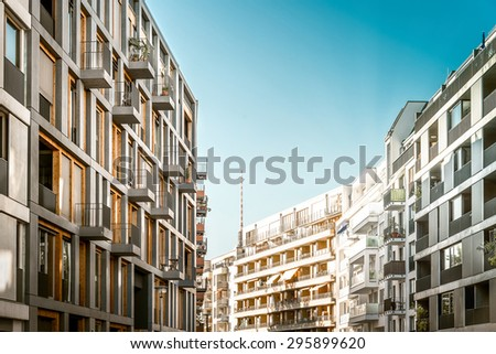 street with modern residential houses in Berlin - stock photo