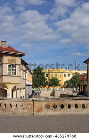 street with old buildings Eger Hungary