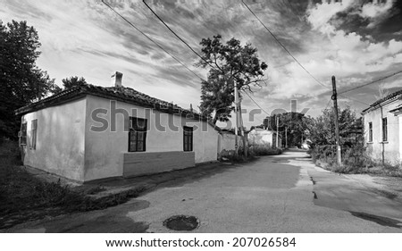 street with old dwelling houses. Crimea. Ukraine.