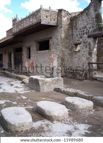 Street with ruins and pavement - stock photo