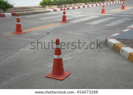 Street with traffic cone