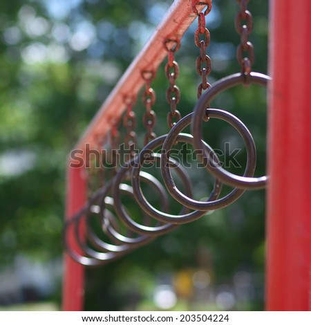 Street workout, rings - stock photo
