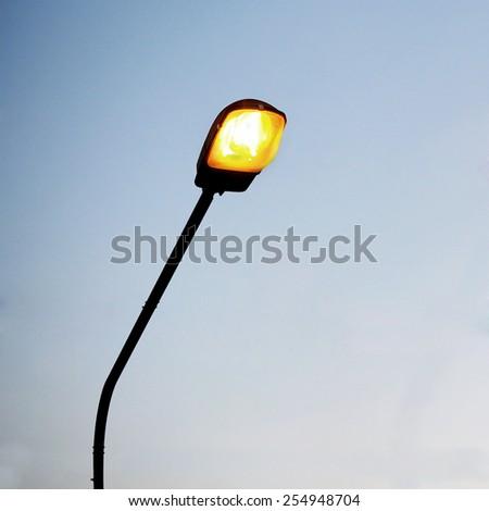streetlight on beautiful sky background - stock photo