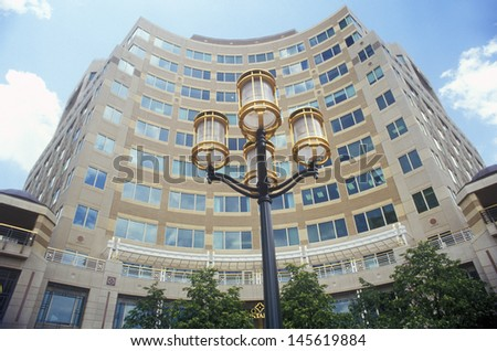 Streetlights in front of Reston town center, VA - stock photo