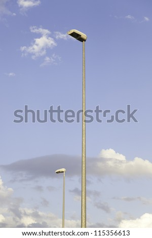 Streetlights, street lighting detail with sky
