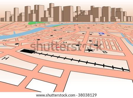 Streetmap of a generic city plus skyline - stock photo