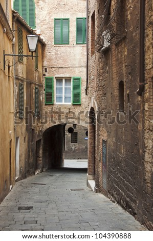 streets and buildings in Siena, Tuscany, Italy