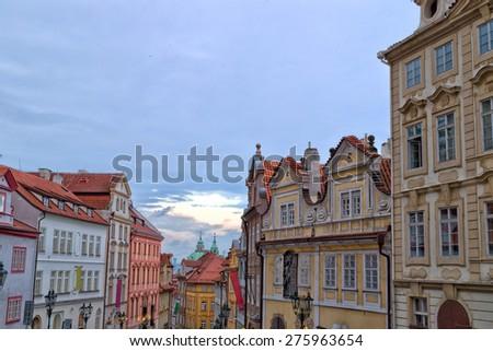Streets and buildings of Mala Strana quarter in Prague - stock photo