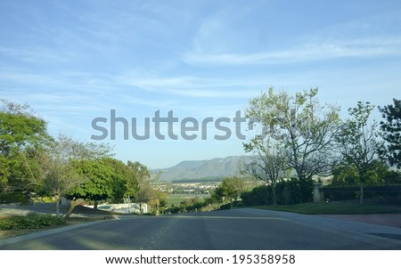 Streets and mountains in city of Camarillo, Ventura county, California - stock photo