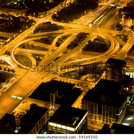streets in a big city by night - stock photo
