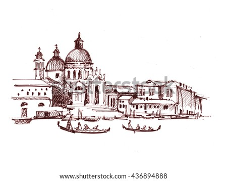 Streets in Venice with gondola, hand drawn vintage illustration on white background. - stock photo