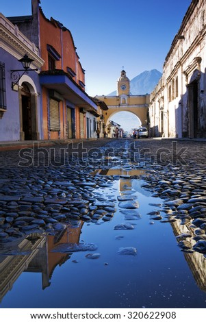Streets of Antigua after rain. Antigua, Guatemala.  - stock photo