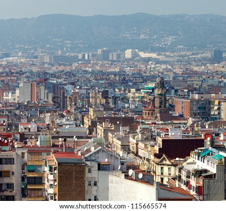 Streets of Barcelona,Poble Sec district,aerial view - stock photo