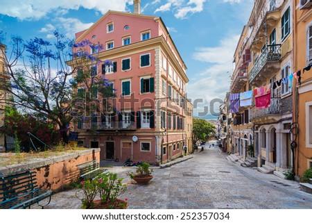 Streets of Corfu Town at early morning. Kerkyra. Greece, Corfu island - stock photo