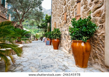 Streets of Deia, Mallorca, The Balearic Islands, Spain - stock photo