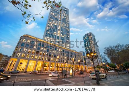 Streets of Frankfurt at night. - stock photo