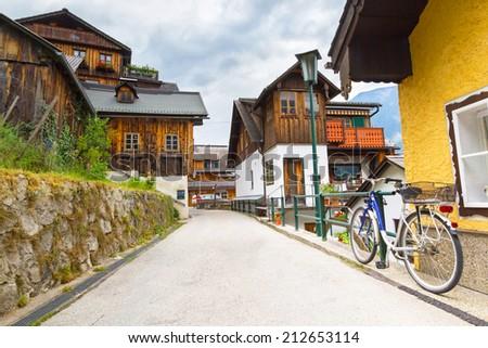 Streets of Hallstatt village in Alps, Austria - stock photo