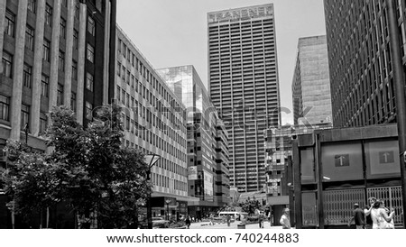Streets of johannesburg megalopolis skyscrapers black white photography city business district