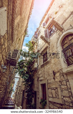 Streets of Korcula old town in Croatia - stock photo