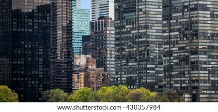 Streets of Manhattan, New York City. Manhattan is the most densely populated of the five boroughs of New York City - stock photo