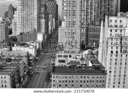 Streets of Midtown in black and white - Manhattan, New York City. - stock photo