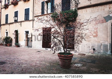 Streets of old European towns - stock photo