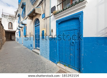 Streets of old Medina. Historical central part of Tanger city, Morocco - stock photo