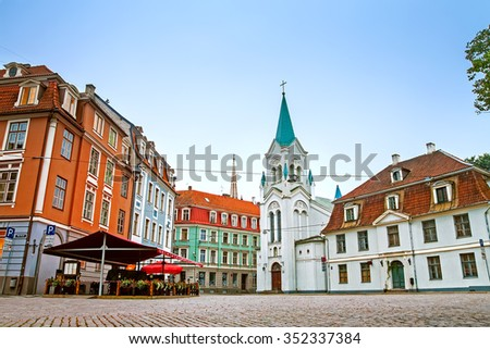 Streets of Old Town in the early morning in Riga, Latvia - stock photo