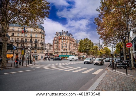 Streets of Paris, France. Blue sky and traffic. Shot in october daylight./Streets of Paris, France - stock photo