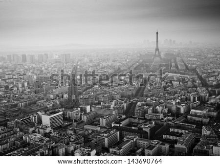 Streets of Paris in black and white. Eiffel Tower and Paris view from above - stock photo