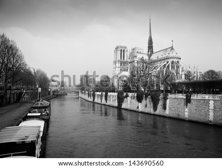 Streets of Paris in black and white. Sena in Paris - stock photo