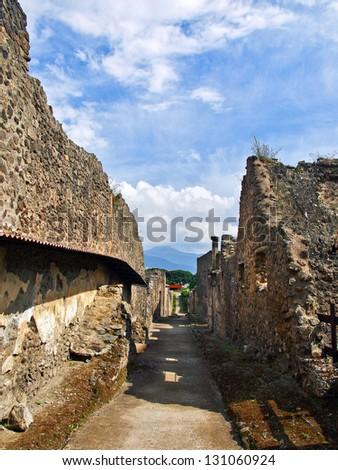 Streets of Pompeii - stock photo