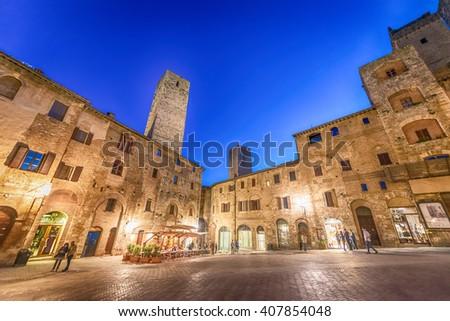 Streets of San Gimignano, Tuscany - Italy. - stock photo
