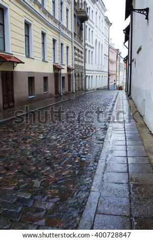 Streets of the Old City in the rain. Tallinn, Estonia.