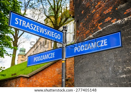 Streets sign in the Old town of Krakow, Poland - stock photo