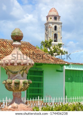 streetview in the colonial  town of Trinidad, Cuba - stock photo