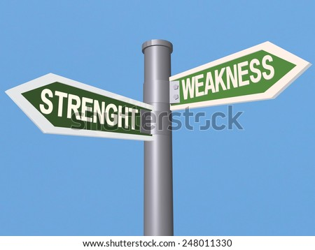 strenght weakness traffic sign - blue sky background - stock photo