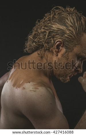 Portrait Young Men Skin Covered Mud Stock Photo 556058482
