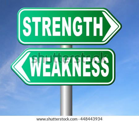 strength or weakness being strong or weak overcome problems accept the challenge to success - stock photo