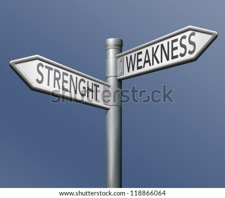 strength or weakness overcome them and analise potential roadsign with text - stock photo