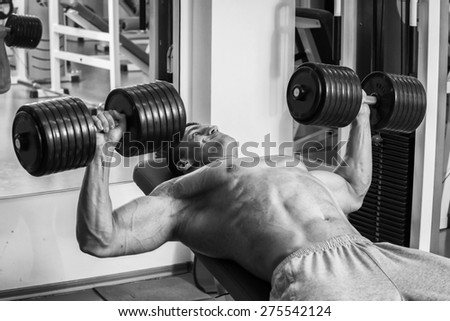 Strength training with dumbbells. Husky holds a large dumbbell in hand. Sport, bodybuilding, healthy lifestyle. - stock photo