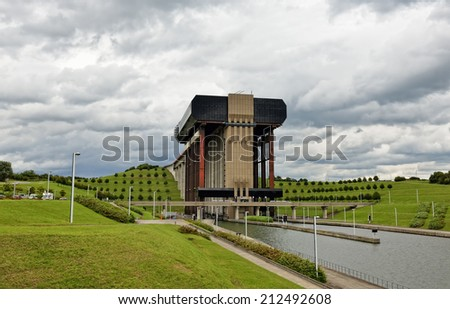 Strepy-Thieu boat lift on the Canal du Centre in municipality Le Roeulx, Walloon, Belgium - stock photo