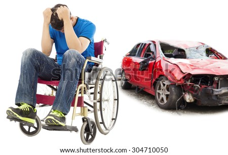 stress and Disabled patient with car accident concept - stock photo