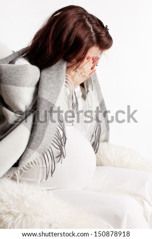 Stress at pregnant woman. Problems, sad, depression woman. - stock photo