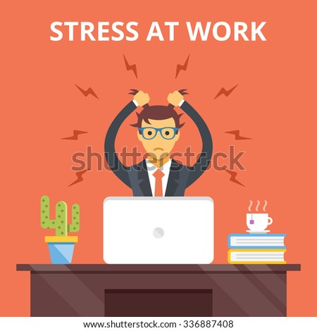 Stress at work. Stress situation concept. Man tearing his hair out. Modern flat design concepts for web banners, web sites, printed materials, infographics. Creative flat illustration - stock photo