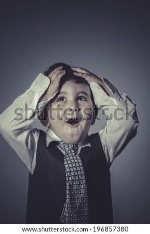 stress boy in suit and tie, Business concept - stock photo