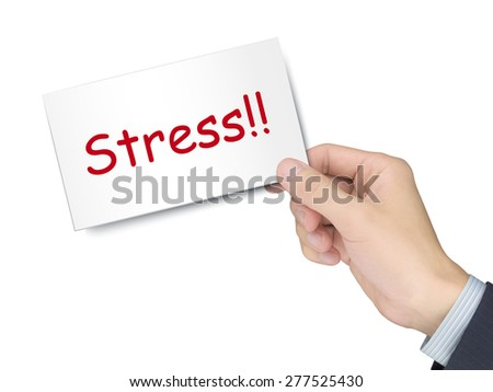 stress card in hand isolated over white background - stock photo