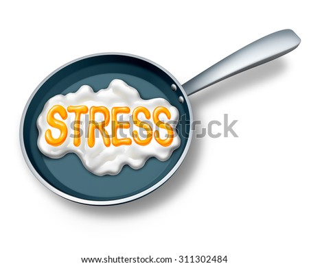 Stress concept and stressed out symbol or work burnout icon as a fried egg in a hot pan shaped as text as a mental health metaphor for extreme emotionalcrisis due to debt or abusive lifestyle. - stock photo